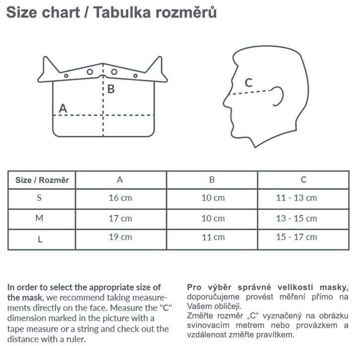 Tabulka rozměrů obličejového štítu